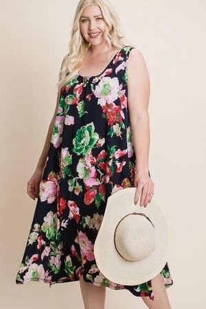 Plus Size Floral Bulgari Printed Tank Midi Dress With Asymmetrical Hem Knitted Belle Boutique