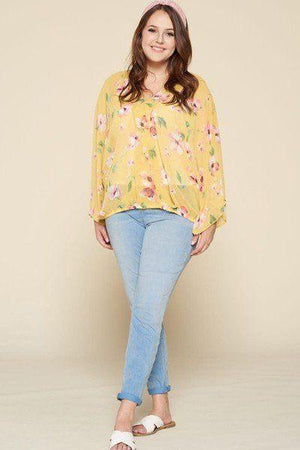 Plus Size Floral Chiffon Sheer Surplice Top Knitted Belle Boutique