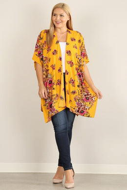 Plus Size Floral Print Kimono Knitted Belle Boutique