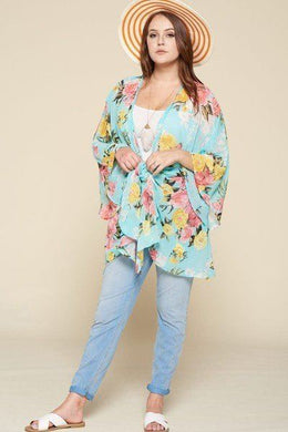 Plus Size Floral Printed Oversize Flowy And Airy Kimono With Dramatic Bell Sleeves Knitted Belle Boutique
