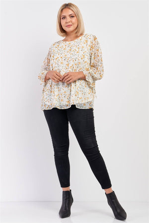 Plus Size Ivory Yellow Floral Print Relaxed Fit Draw String Self Tie Puff Midi Sleeve Top Knitted Belle Boutique
