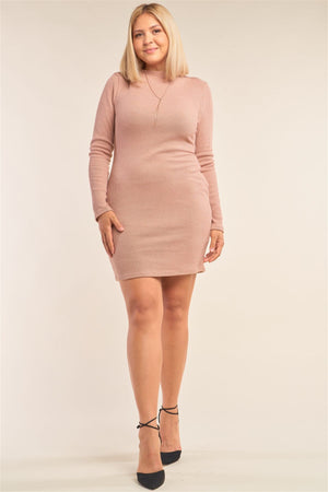 Plus Size Long Sleeve Ribbed Knit Sexy Cut Out Back Mini Dress Knitted Belle Boutique