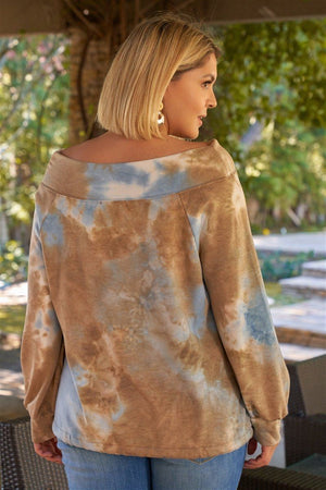 Plus Size Multicolor Tie-dye Bateau Neck Long Sleeve Draw-string Trim Sweatshirt Knitted Belle Boutique