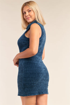 Plus Size Sleeveless Ribbed Knit Semi-turtleneck Mini Dress Knitted Belle Boutique