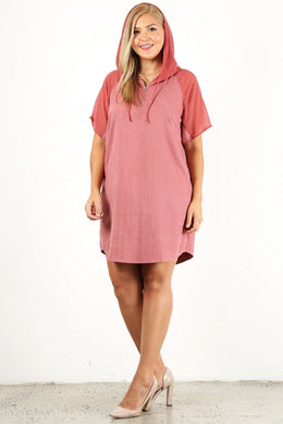 Plus Size Solid Dress With Zip-up Closure Knitted Belle Boutique
