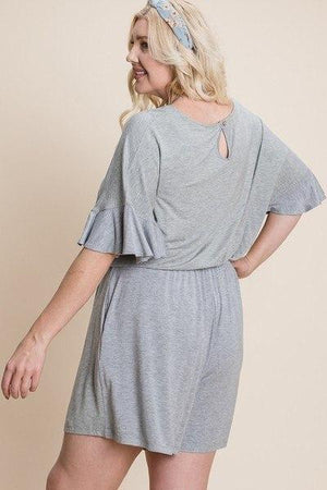 Plus Size Solid Rayon Modal Mini Romper Knitted Belle Boutique