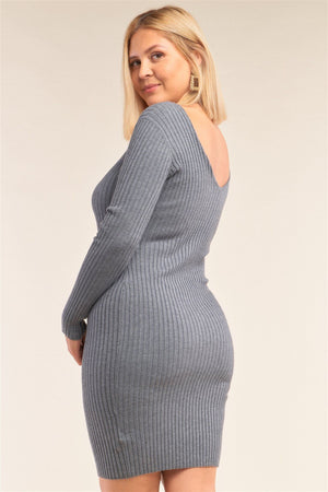 Plus Size V-neck Long Sleeve Ribbed Sweater Bodycon Mini Dress Knitted Belle Boutique