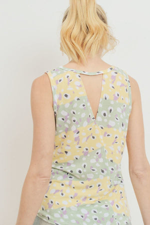 Printed Terry Back Opened Sleeveless Top Knitted Belle Boutique
