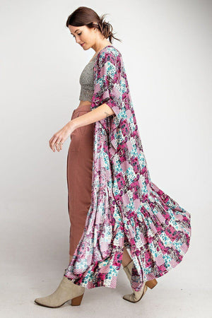 Rayon Challis Ruffle Bottom Maxi Open Kimono Knitted Belle Boutique