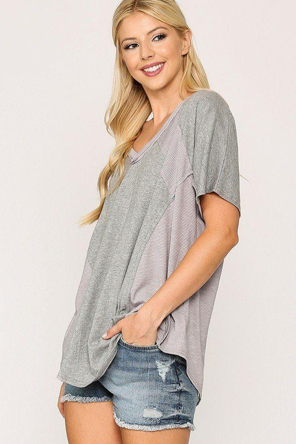 Rib Knit Mixed Dolman Sleeve Top With Round Hem Knitted Belle Boutique