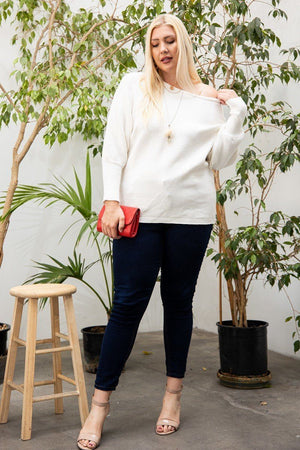 Round Neck Long Sleeve Solid Sweater Knitted Belle Boutique
