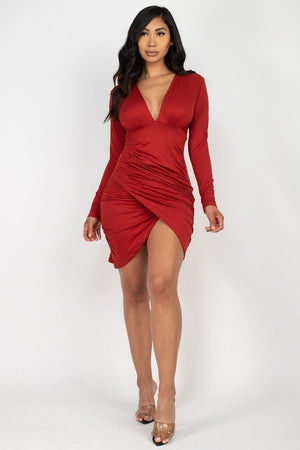 Ruched Wrap Bodycon Dress Knitted Belle Boutique