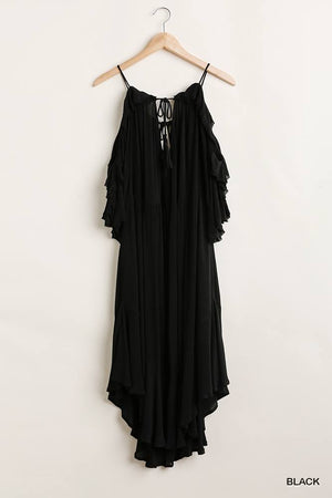 Ruffled Cold Shoulder Maxi Dress With Front Tassel Tie Knitted Belle Boutique