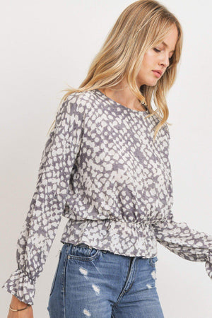 Ruffled Waist Drop Shoulder Long Sleeve Top Knitted Belle Boutique