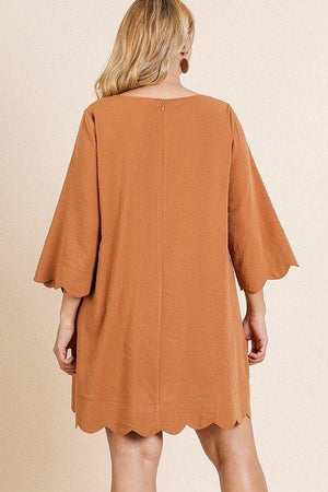 Scalloped Hem Dress - Terracotta - Curvy Knitted Belle Boutique