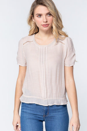 Short Shirring Slv Pleated Woven Top Knitted Belle Boutique