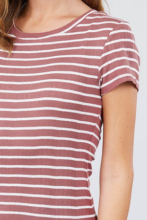 Short Sleeve Crew Neck Stripe Pointelle Knit Top Knitted Belle Boutique