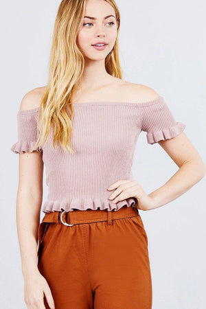 Short Sleeve Off The Shoulder W/ruffle Detail Sweater Top Knitted Belle Boutique