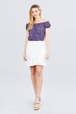 Short Sleeve Off The Shoulder W/shirring Detailed Printed Woven Crop Top Knitted Belle Boutique