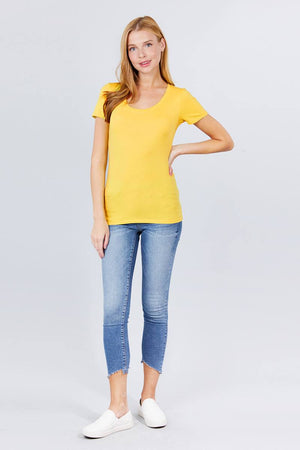 Short Sleeve Scoop Neck Tee Knitted Belle Boutique