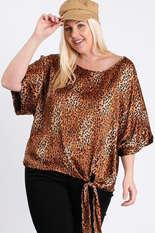 Short Sleeve Side Knot Hemline Leopard Print Woven Top Knitted Belle Boutique