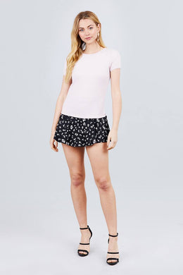Short Sleeve W/lace Trim Detail Crew Neck Pointelle Knit Top Knitted Belle Boutique
