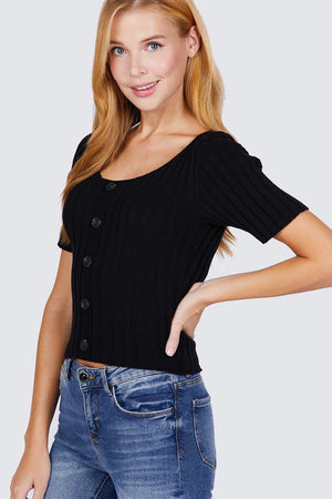 Short Slv Rib Sweater Top Knitted Belle Boutique