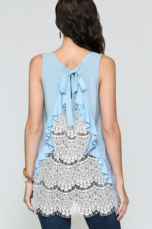 Sleeveless Back Lace Ruffle Detail Tank Top Knitted Belle Boutique