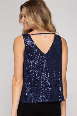 Sleeveless Cowl Neck Sequin Top - Blue Bottoms She and Sky