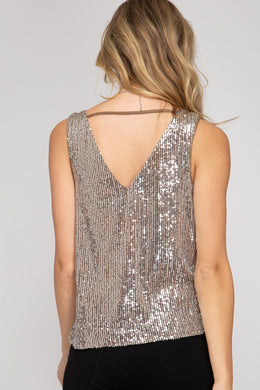 Sleeveless Cowl Neck Sequin Top - Grey Tops She and Sky