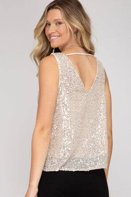 Sleeveless Cowl Neck Sequin Top - Taupe Tops She and Sky