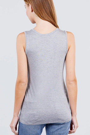 Sleeveless Round Neck Rayon Spandex Knit Top Knitted Belle Boutique