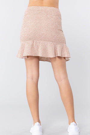 Smocked Ruffle Print Mini Skirt Knitted Belle Boutique