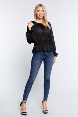 Smocked Ruffle Sleeve Lurex Blouse Knitted Belle Boutique