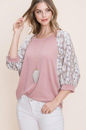 Solid French Terry Fashion Top Knitted Belle Boutique