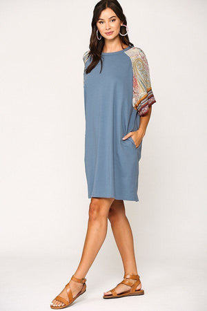 Solid Side Pocket Shift Dress Knitted Belle Boutique