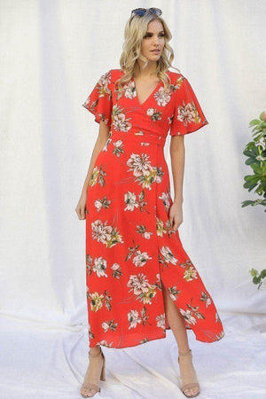 Spring Floral Print Short Bell Flyaway Sleeve Faux Wrap Maxi Dress Knitted Belle Boutique