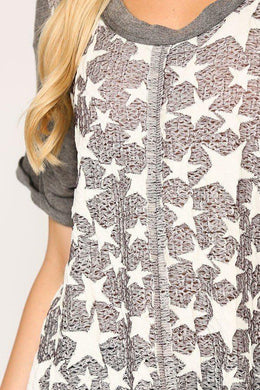 Star Textured Knit Mixed Tunic Top With Shark Bite Hem Knitted Belle Boutique