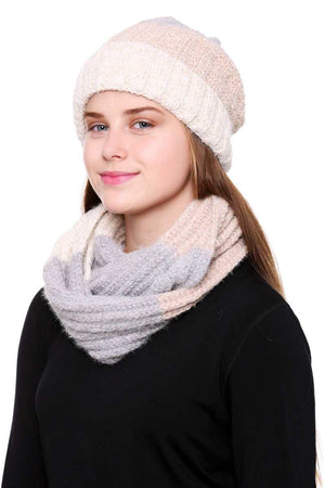 Stripe Pattern Infinity Scarf And Knit Hat Set Knitted Belle Boutique
