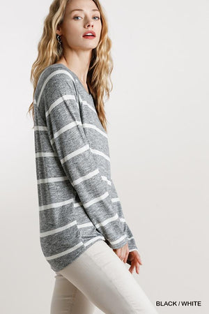 Striped Round Neck Long Sleeve Top Knitted Belle Boutique