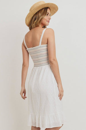 Striped Smocking Ruffled Hem Spaghetti Strap Dress Knitted Belle Boutique
