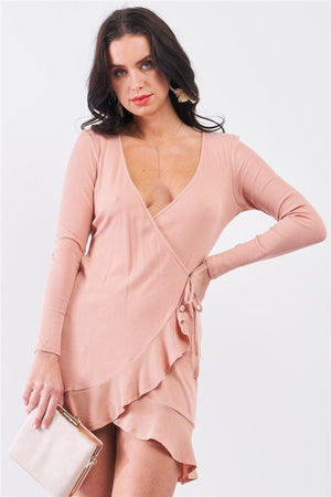 Tan Blush Ribbed Deep Plunge V-neck Asymmetrical Wrap Flare Hem Dress Knitted Belle Boutique