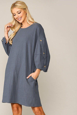 Textured Button Accent Puff Sleeve Side Pockets Shift Dress Knitted Belle Boutique