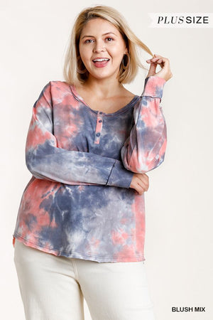 Tie-dye Button Front Long Raglan Sleeve Top With Raw Hem Knitted Belle Boutique