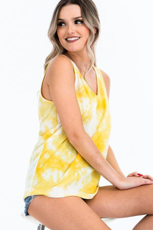 Tie-dye Knit Top Featured In A Scoop Neckline And Sleeveless Knitted Belle Boutique