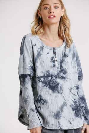 Tie Dye Round Neck Ribbed Button Front Top With Round Hem Knitted Belle Boutique