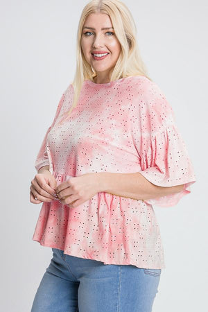 Tie Dye Ruffled Sleeves And Bottom Eyelet Blouse Knitted Belle Boutique