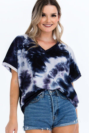 Tie-dye Top Featured In A V-neckline And Cuff Sort Sleeves Knitted Belle Boutique