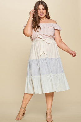 Tiered Off-shoulder Flounce Dress Featuring Stripe Details And Self Ties. Knitted Belle Boutique