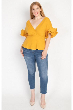 Tiered Ruffle Sleeve Top Knitted Belle Boutique